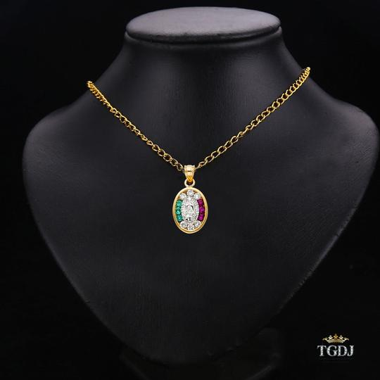 Top Gold & Diamond Jewelry 14K Yellow White Gold CZ Religious Guadalupe Pendant