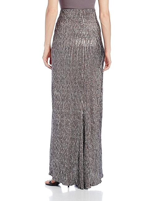 BCBGeneration Brown Striped Mermaid Maxi Skirt Silver