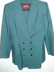 Sasson Beautiful deep green suit long double breasted jacket & A'line skirt
