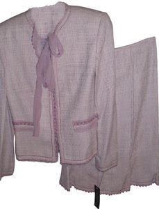 Nipon Boutique Classic lavender tweed fringe detail Nipon skirt suit sz 4