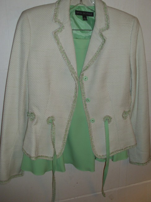 Nipon Boutique Pink & Green tweed fringe tailored pleated short skirt fitted suit jkt