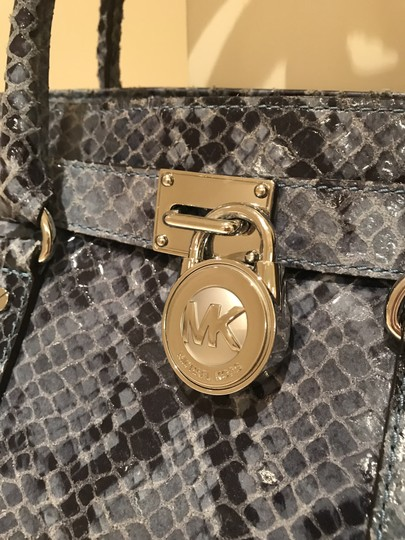 Michael Kors East West Snakeskin Snake Convertible Shoulder Satchel in Denim Blue