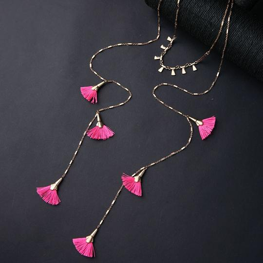 Private Collection Pink Tassel Layer Necklace