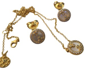 Freida Rothman ROUND MOTHER OF PEARL SLICE PENDANT NECKLACE EARRING SET