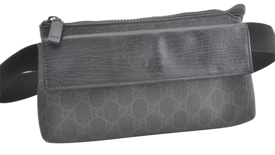 baa07ccff1a Gucci Supreme Monogram Waist Belt Pouch 866920 Black Coated Canvas ...