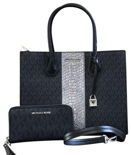 Preload https://img-static.tradesy.com/item/23417145/michael-kors-mercer-large-embossed-stripe-convertible-tote-and-wallet-black-signature-pvc-leather-sa-0-1-540-540.jpg