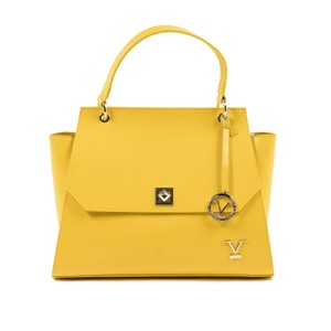 Versace 19.69 Italian Trapeze Saffiano Gold Leather Satchel in Yellow