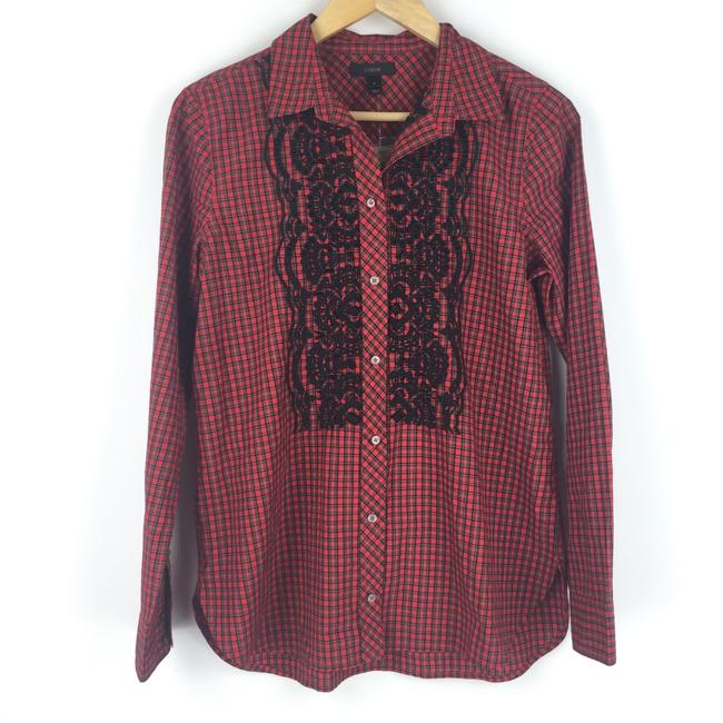 J.Crew Boyshirt Plaid Embellished Button Down Shirt Red