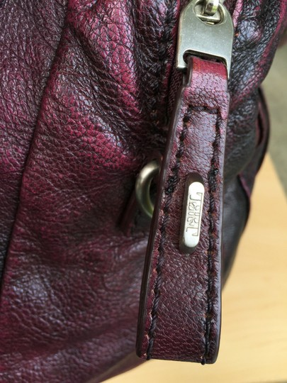 Tulah Ray Zipper Distressed Leather Satchel in Eggplant/Purple
