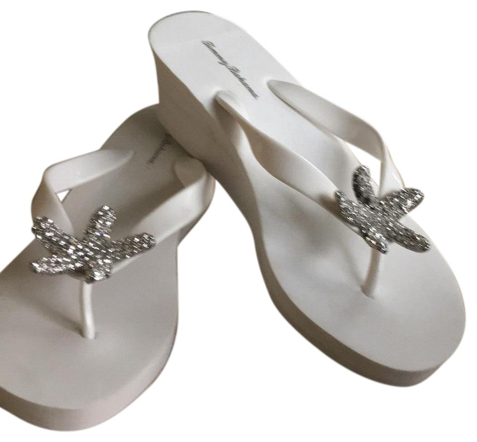 3871c459d5a798 Tommy Bahama White Bimini Starfish Wedge Sandals Size US 7 Regular ...