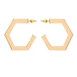 Private Collection Gold Octagonal Hoop Earrings