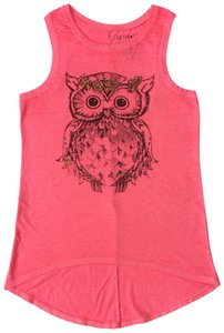 Fifth Sun Owl Print Soft Fabric Hilo Hem Top Pink - item med img