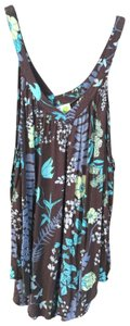 Free People Floral Flowy Flattering Top brown, turquoise, lime, white
