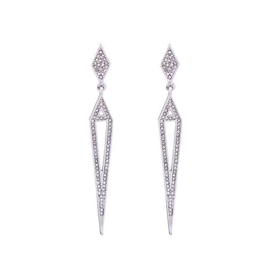 Private Collection Silver Pave Open Statement Earrings