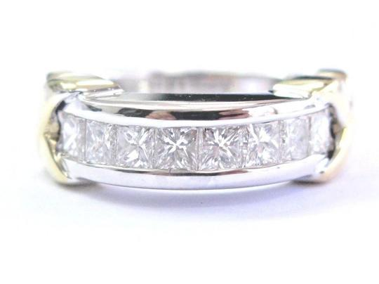 custom 18Kt Princess Cut Channel Setting 2-Tone X 8-Stone Band Ring 1.00Ct