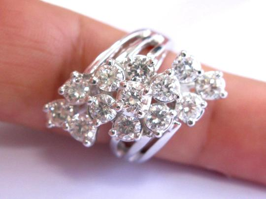 custom Fine Round Cut Diamond White Gold Cocktail Waterfall Ring 13-Stones 3.