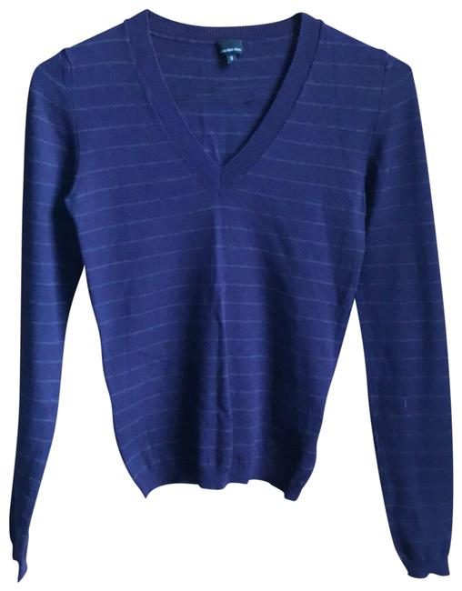 Preload https://img-static.tradesy.com/item/23417380/calvin-klein-purple-with-thin-green-stripes-blouse-size-4-s-0-1-650-650.jpg