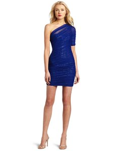 BCBGMAXAZRIA short dress Blue Sequin One Shoulder Bodycon on Tradesy