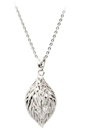 Ocean Fashion Silver Hollow Crystal Leaf Earring Necklace Set