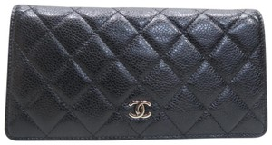 Chanel Chanel Black Caviar Quilted Yen Wallet