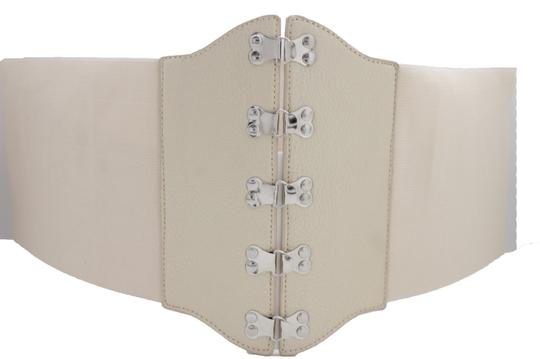 Alwaystyle4you Women Belt Champagne Beige Corset Fabric Silver Metal Hook L XXL