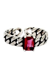 Ocean Fashion Retro creative red crystal twisted silver ring