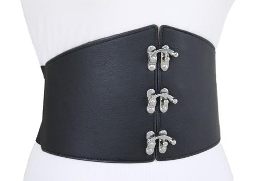 Alwaystyle4you Women Wide Belt Black Corset Silver Metal Hooks Elastic L-XXL