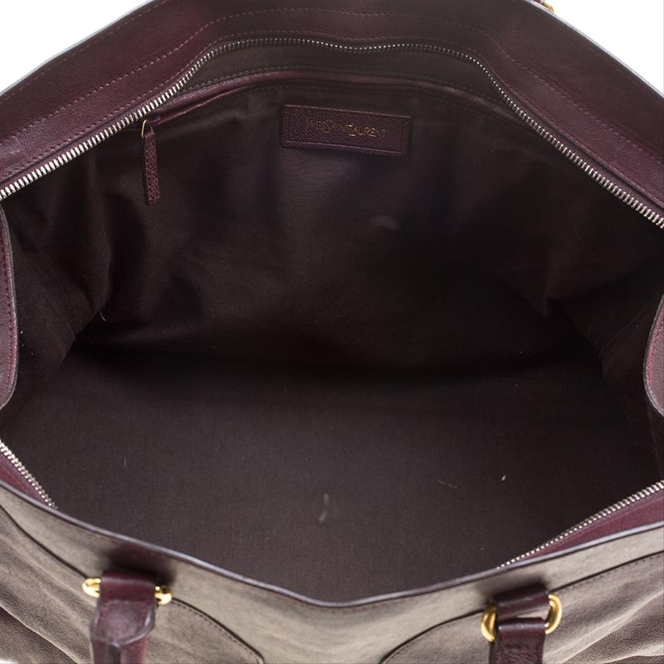 Tote Saint Burgundy Laurent ChYc and Satchel Leather Cabas Fabric nqr4UPz8qx
