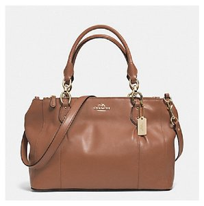 Coach Leather Shoulder Crossbody Carryall Satchel in Saddle Brown Gold ed53df1d1241a