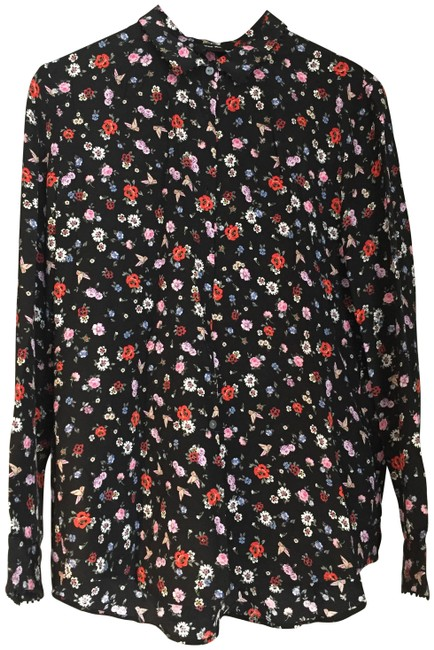 Preload https://img-static.tradesy.com/item/23417723/the-kooples-black-floral-flowers-blouse-button-down-top-size-4-s-0-5-650-650.jpg
