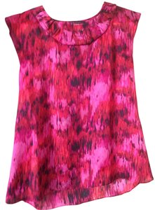 AK Anne Klein Ruffle Multicolored Top Pink, fuschia, orange, red, black