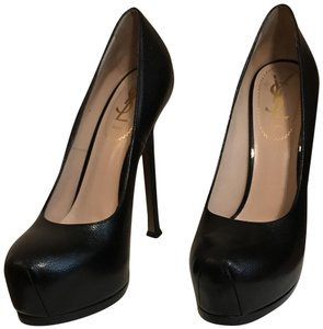 Saint Laurent Hidden Platform Tribtoo Tribute Patent Leather Black Pumps