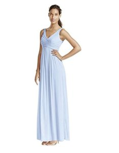 David's Bridal Ice Blue Chiffon F15933 Feminine Bridesmaid/Mob Dress Size 8 (M)