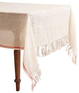 Anthropologie Ivory / Coral Stripe Tablecloth