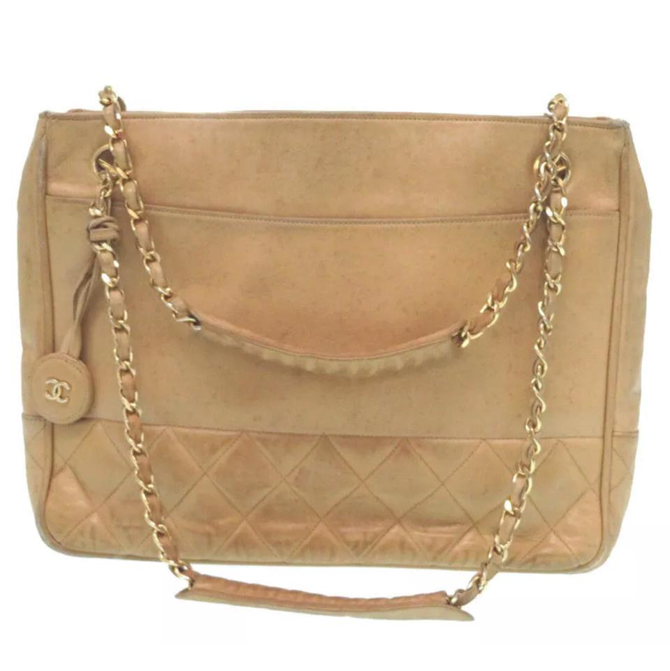 60ac05917a0a82 Chanel Matelassé Quilted Cc Chain Tan Leather Tote - Tradesy
