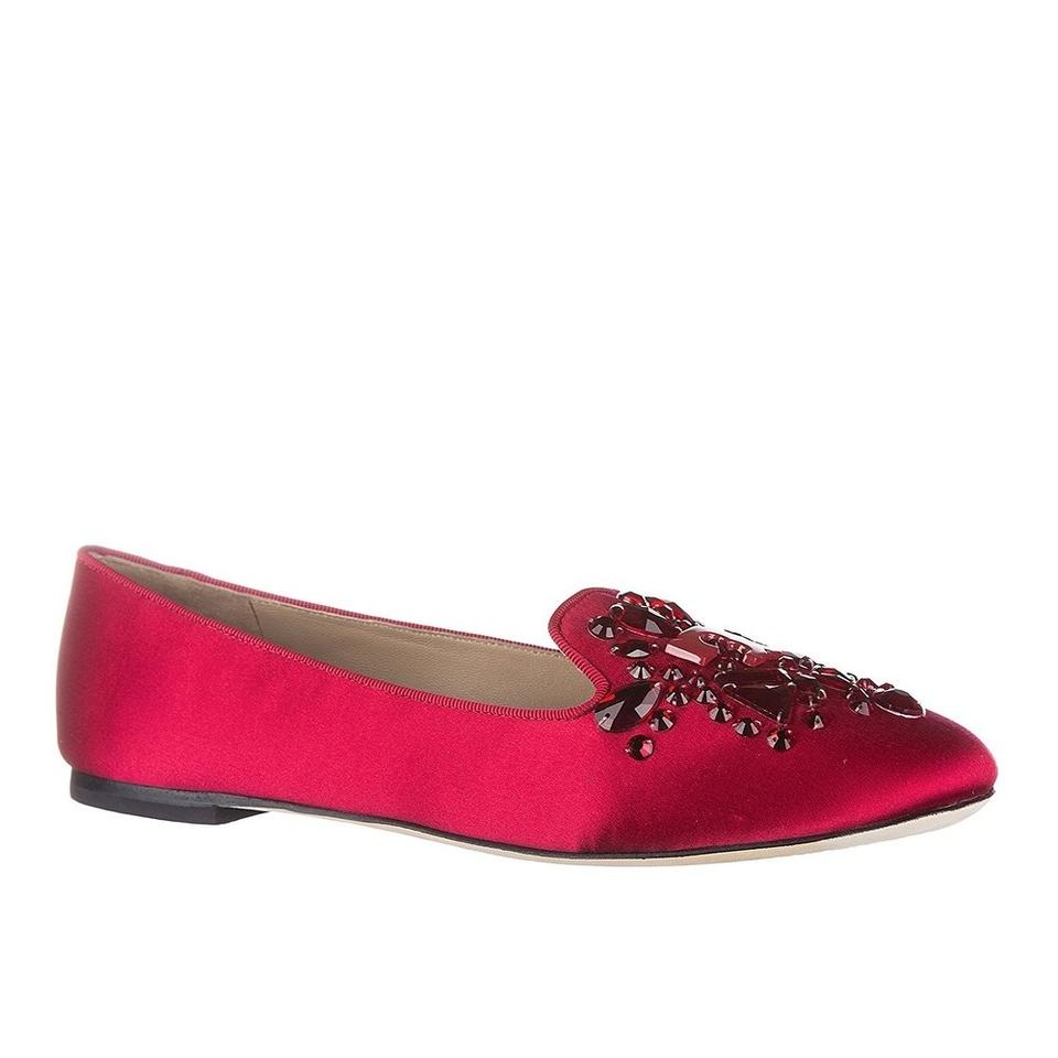 cad174f6a2a Tory Burch Red Delphine Logo Jeweled Satin Loafer Flats Size US 6.5 ...
