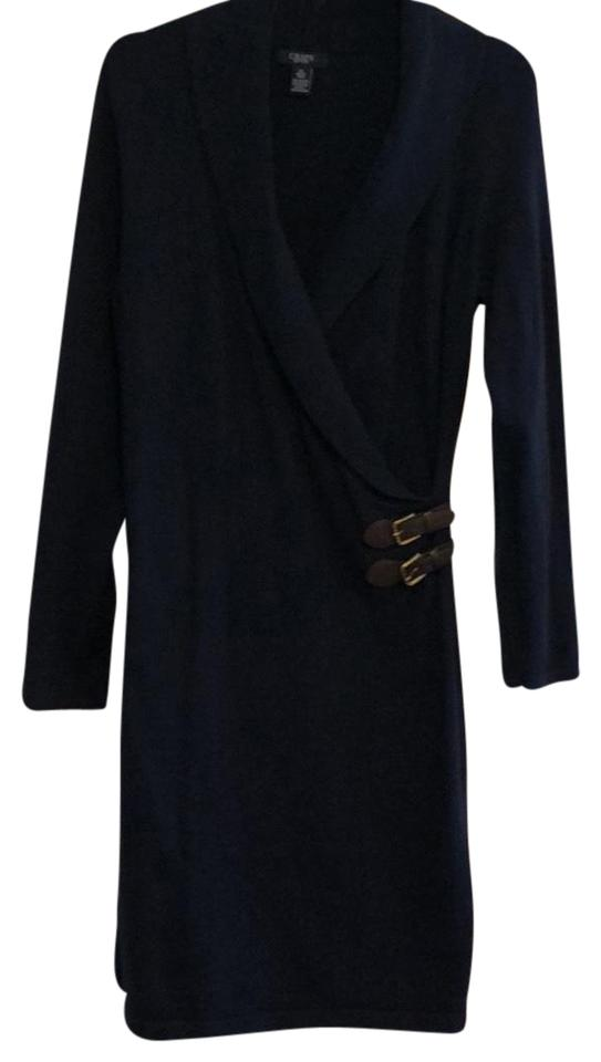 eb750a573e Chaps Navy Blue Sweater Wrap Mid-length Work Office Dress Size 12 (L ...