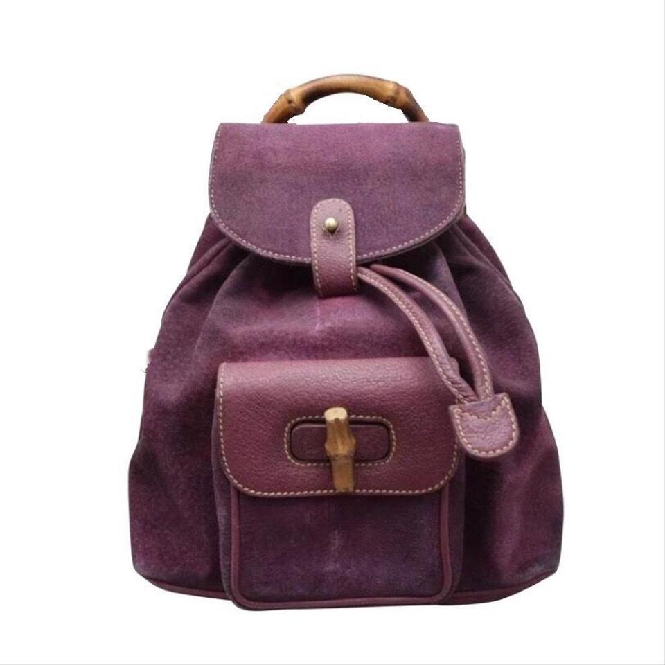 Gucci Purple Bamboo Handle Mini Handba Burgundy Plum Suede Leather ... 3edd0c97a0945