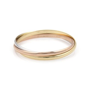 Cartier Trinity 18k Tricolor Gold 4mm Triple Rolling Bangle Bracelet w/Paper
