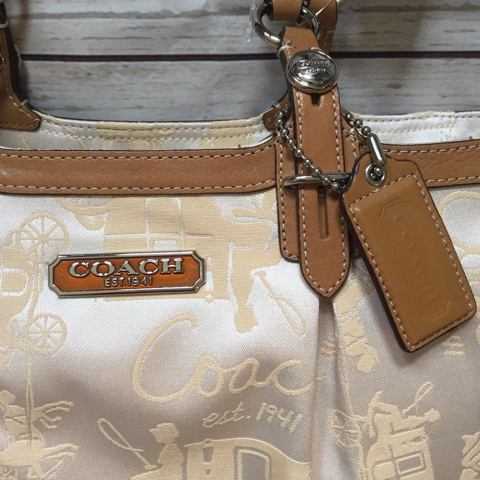 49121ff2e8c Coach Horse   Carriage Gallery Tote Cream Jacquard Fabric and Leather  Shoulder Bag - Tradesy