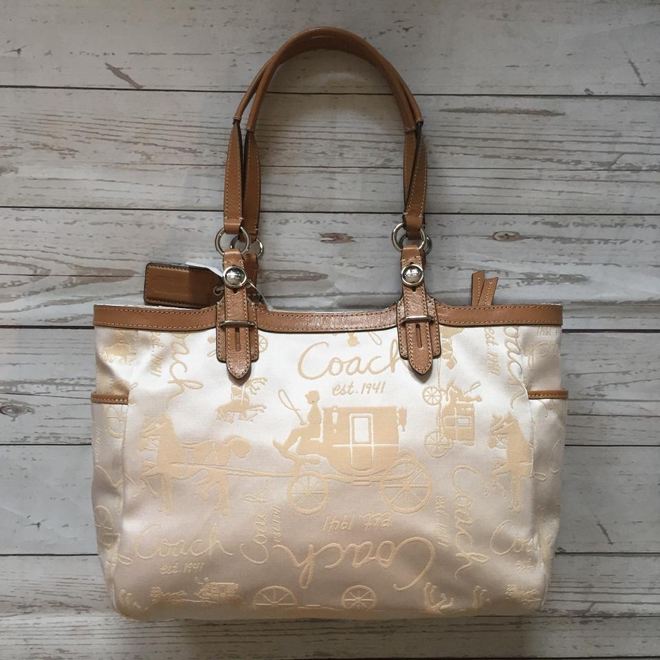 a7dac6cbe0a Coach Horse   Carriage Gallery Tote Cream Jacquard Fabric and ...