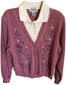 Alfred Dunner Mauve Petite Size Medium Collared Sweater