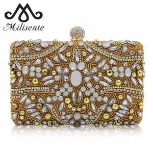 Gold Bling Silver Bag Evening Handbag Cluster Chain Diamond Bling