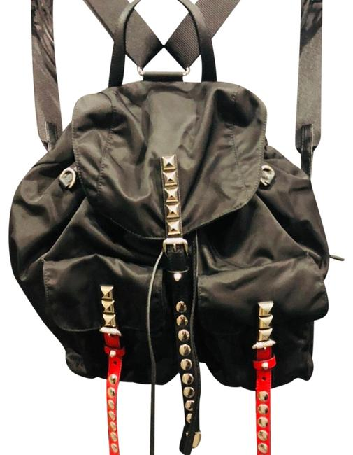Item - Messenger Black Red and Silver Nylon Leather Backpack