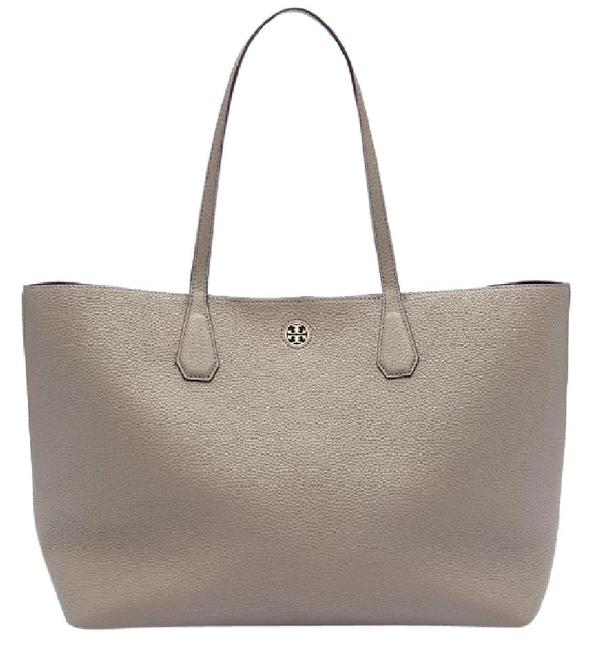 Item - Perry French Gray/Dark Peony Gray Leather Tote