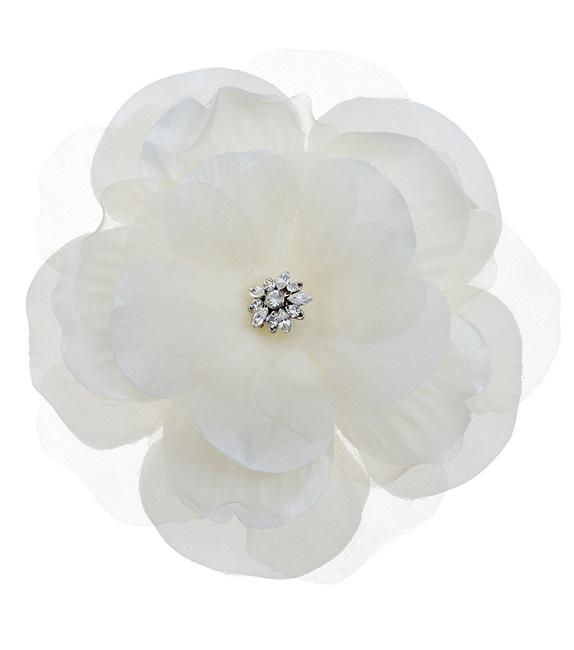 Item - Cream-ivory Large Silk Gardenia Comb with Set Crystal Center Hair Accessory