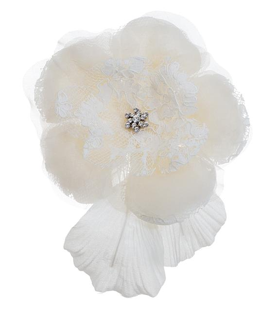 Item - Cream-ivory Large Silk Rose Comb with Lace Petals Hair Accessory