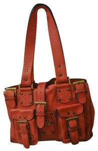 Tess Loriani Milano Leather Shoulder Classic Satchel in Coral/Peach