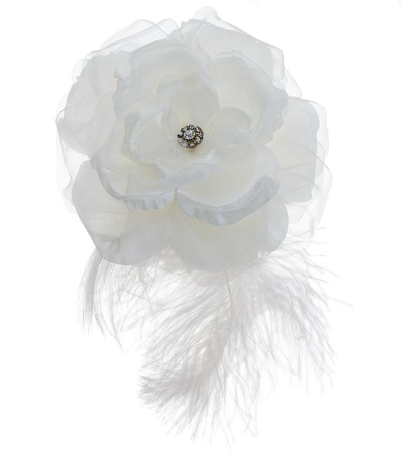 Item - White Large Silk Flower Comb with Plume Hair Accessory