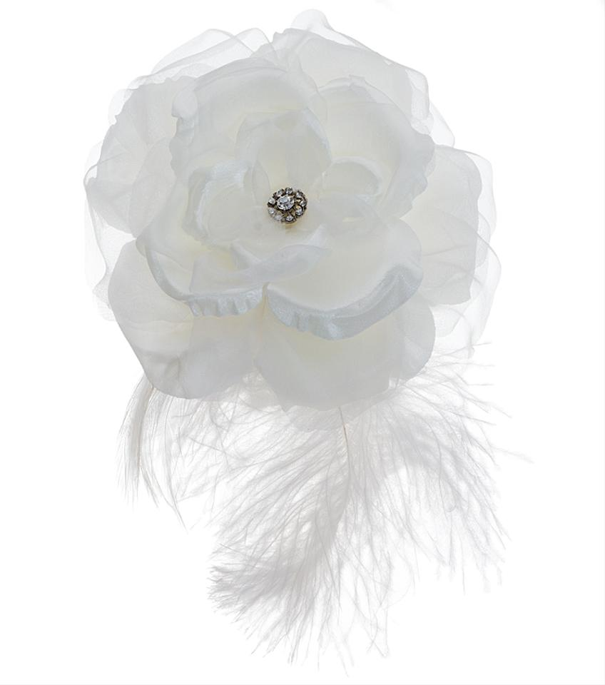 Lori London White Large Silk Flower Comb With Plume Hair Accessory
